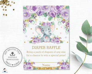 Purple Floral Elephant Baby Shower Diaper Raffle Card - Instant Download - EP9