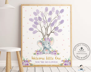 Purple Floral Elephant Fingerprint Tree Guestbook Sign Editable Template - Digital Printable File - Instant Download - EP9
