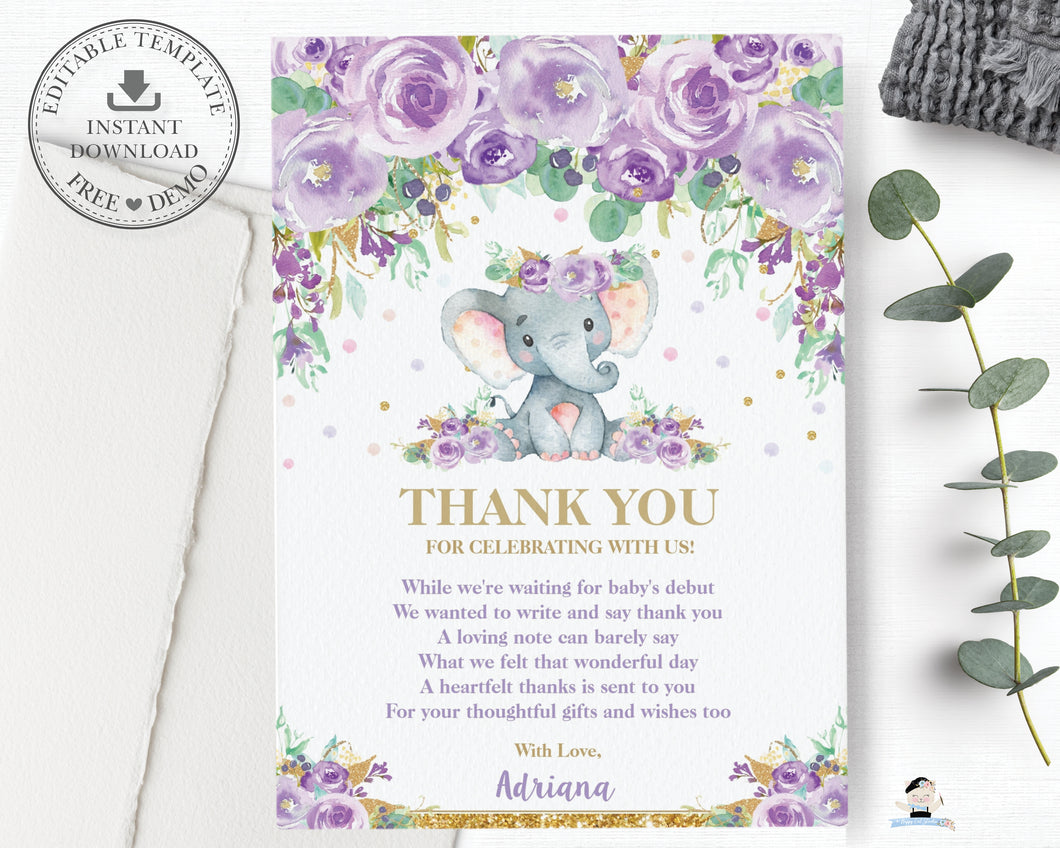 Purple Floral Elephant Baby Shower Thank You Note Card Editable Template - Instant Download - EP9