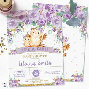 Whimsical Purple Floral Owl Baby Shower Invitation Editable Template - Instant Download - Digital Printable File - OW3