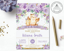 Load image into Gallery viewer, Whimsical Purple Floral Owl Baby Shower Invitation Editable Template - Instant Download - Digital Printable File - OW3