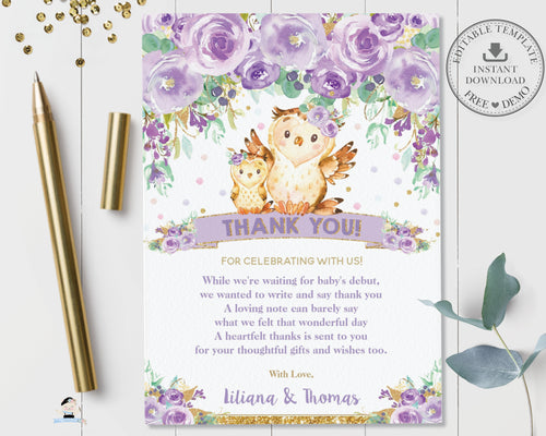 Chic Purple Floral Owl Baby Shower Thank You Note Card Editable Template - Instant Download - Digital Printable File - OW3