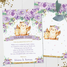 Load image into Gallery viewer, Chic Purple Floral Owl Baby Shower Thank You Note Card Editable Template - Instant Download - Digital Printable File - OW3