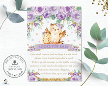 Load image into Gallery viewer, Purple Floral Owl Baby Shower Bring a Book Instead of a Card Inserts - Instant Download - OW3