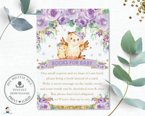Purple Floral Owl Baby Shower Bring a Book Instead of a Card Inserts - Instant Download - OW3