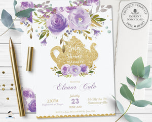 Chic Purple Floral Baby Shower High Tea Party Invitation - Editable Template - Digital Printable File - Instant Download - TP4