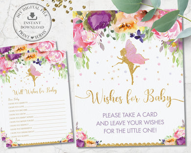 Purple Floral Fairy Well Wishes Card and Sign Baby Shower Game Activity - Instant Download - Digital Printable File - FF2
