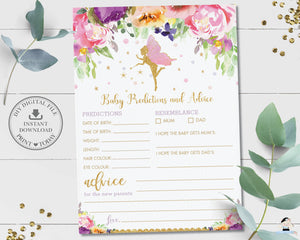 Purple Floral Fairy Baby Shower Baby Predictions and Advice Game Fun Activity - Instant Download Printable File - Digital Printable - FF2