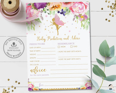 Purple Floral Fairy Baby Shower Baby Predictions and Advice Game Fun Activity US Spelling - Instant Download Printable File - Digital Printable - FF2