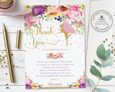 Purple Floral Fairy Baby Shower Birthday Thank You Note Card - Editable Template - Digital Printable File - Instant Download - FF2