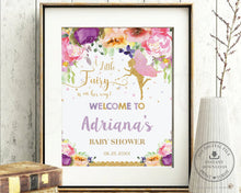 Load image into Gallery viewer, Chic Purple Floral Fairy Birthday Baby Shower Welcome Sign - Editable Template - Digital Printable File - Instant Download - FF2