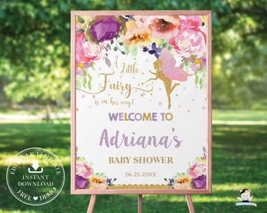 Chic Purple Floral Fairy Birthday Baby Shower Welcome Sign - Editable Template - Digital Printable File - Instant Download - FF2