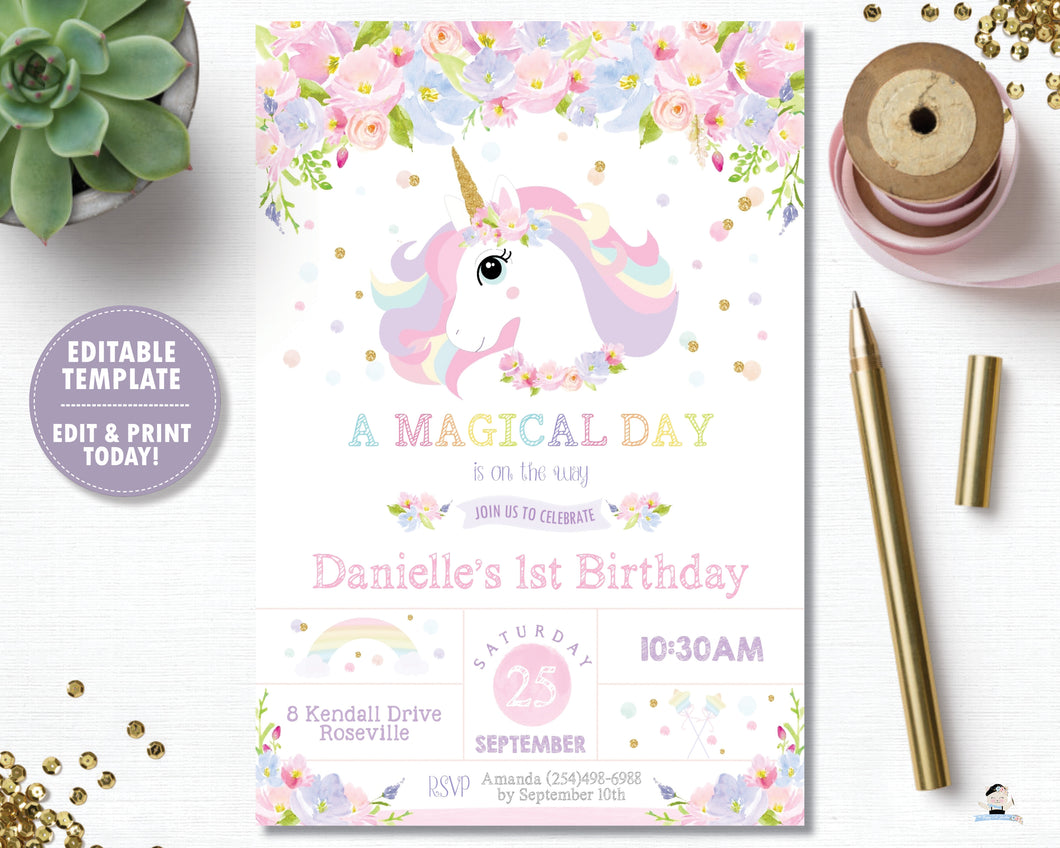 Rainbow Unicorn Pastel Floral 1st Birthday Party Invitation Editable Template Digital Printable File - Instant Download - UB8