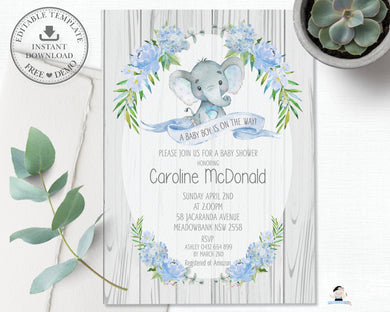 Rustic Elephant Blue Floral Baby Shower Boy Invitation Editable Template - Instant Download - Digital Printable File - EP4