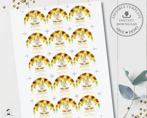 Sunflower Floral Cute Bunny Rabbit Baby Shower 2 Inches Round Labels Editable Template - Digital Printable File - Instant Download - CB7