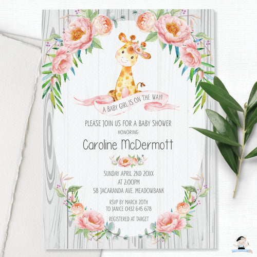 Rustic Floral Giraffe Baby Shower Girl Invitation Editable Template - Instant Download - GF1