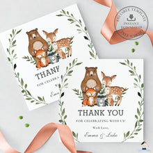 Load image into Gallery viewer, Rustic Greenery Woodland Animals Thank You Favor Square Tags Labels - Editable Template - Instant Download - Digital Printable File - WG7