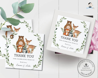 Rustic Greenery Woodland Animals Thank You Favor Square Tags Labels - Editable Template - Instant Download - Digital Printable File - WG7