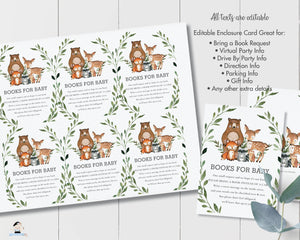 Rustic Greenery Woodland Animals Books for Baby Extra Information Card Editable Template - Digital Printable File - Instant Download - WG7