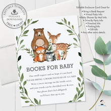 Load image into Gallery viewer, Rustic Greenery Woodland Animals Books for Baby Extra Information Card Editable Template - Digital Printable File - Instant Download - WG7