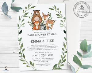 Rustic Greenery Woodland Animals Virtual Baby Shower by Mail Invitation Editable Template - Instant Download - Digital Printable File - WG7