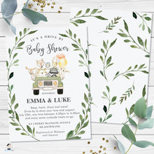 Load image into Gallery viewer, Drive By Baby Shower Cute Woodland Animals Invitation - Editable Template - Digital Printable File - Instant Download