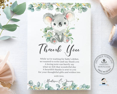 Cute Koala Eucalyptus Greenery Birthday Baby Shower Thank You Card Editable Template - Instant Download - Digital Printable File - AU2