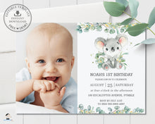 Load image into Gallery viewer, Cute Koala Eucalyptus Greenery Birthday Photo Invitation Editable Template - Instant Dowload - Digital Printable File - AU2
