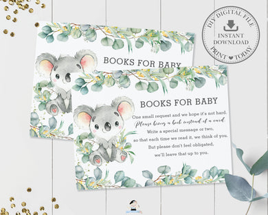 Koala Eucalyptus Greenery Bring a Book Card Insert - Instant Download - Digital Printable File - AU2