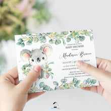 Load image into Gallery viewer, Cute Koala Eucalyptus Greenery Baby Shower Invitation Editable Template - Instant Dowload - Digital Printable File - AU2