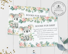 Load image into Gallery viewer, Koala Pink Floral Eucalyptus Greenery Bring a Book Card Insert - Instant Download - Digital Printable File - AU2