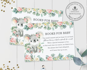 Koala Pink Floral Eucalyptus Greenery Bring a Book Card Insert - Instant Download - Digital Printable File - AU2
