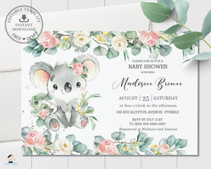 Cute Koala Pink Floral Eucalyptus Greenery Baby Shower Invitation Editable Template - Instant Dowload - Digital Printable File - AU2