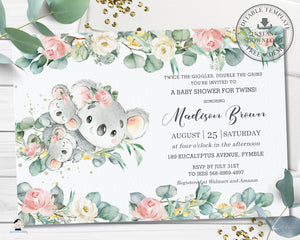 Cute Twin Girls Koala Pink Floral Eucalyptus Greenery Twins Baby Shower Invitation Editable Template - Instant Dowload - Digital Printable File - AU2