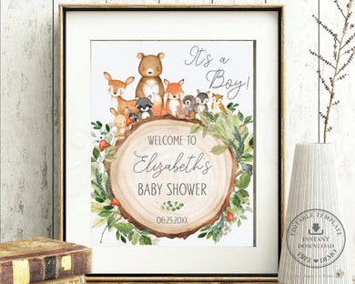 Woodland Animals Baby Shower Birthday Welcome Sign Editable Template - Instant Download - Digital Printable File - WG2
