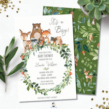 Load image into Gallery viewer, Rustic Woodland Animals Baby Shower Invitation Editable Template - Instant Download - WG3