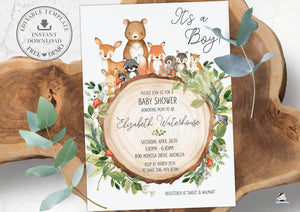 Rustic Greenery Woodland Animals Baby Shower Invitation Editable Template - Instant Download - WG2
