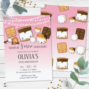 Cute Kawaii S'mores Pink Camping Birthday Invitation Editable Template - Digital Printable File - Instant Download - KW1