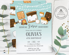 Load image into Gallery viewer, Cute Kawaii S'mores Camping Birthday Invitation Editable Template - Digital Printable File - Instant Download - KW1