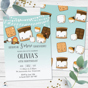 Cute Kawaii S'mores Camping Birthday Invitation Editable Template - Digital Printable File - Instant Download - KW1