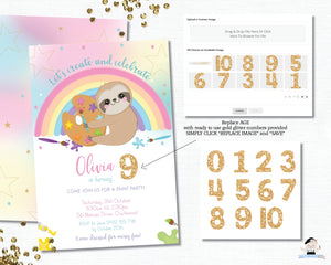 Mermaid and Unicorn Pool Party Birthday Invitation Black Hair - Instant EDITABLE TEMPLATE Digital Printable File - MU1
