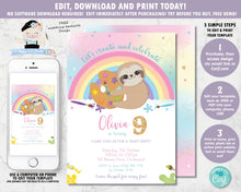 Load image into Gallery viewer, Cute Sloth Art Paint Birthday Party Invitation - Instant EDITABLE TEMPLATE Digital Printable File - SL1