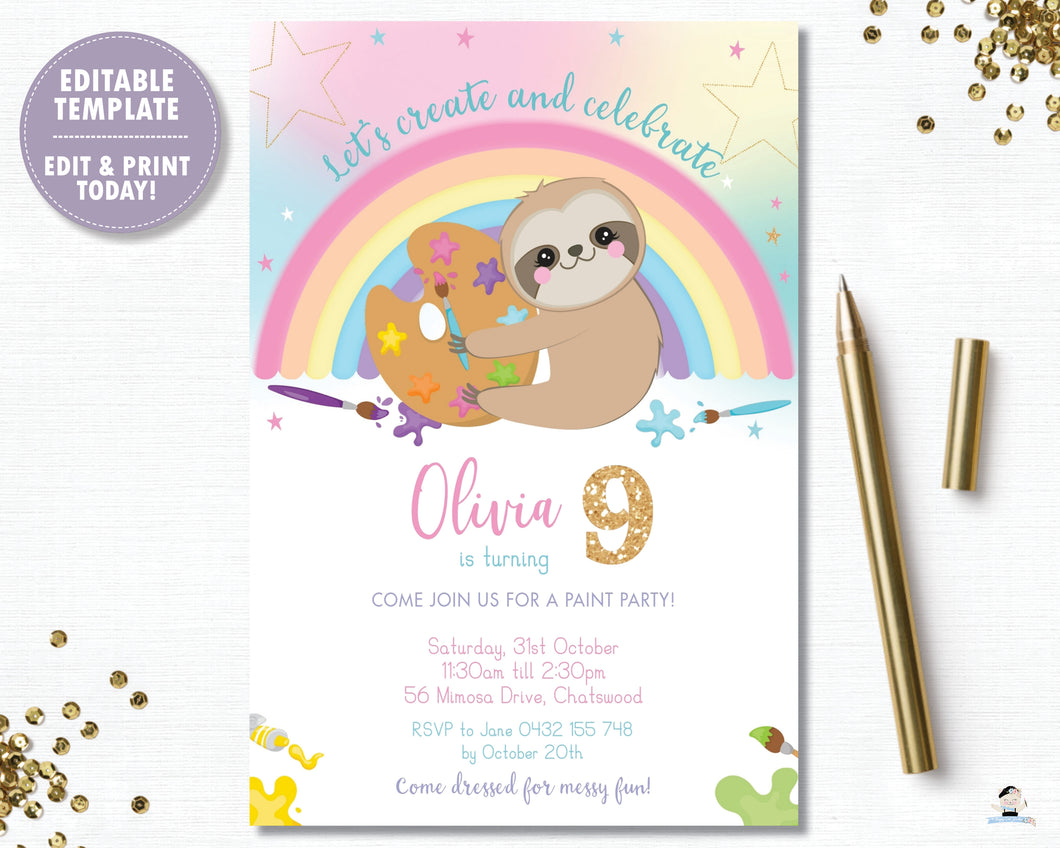 Cute Sloth Art Paint Birthday Party Invitation - Instant EDITABLE TEMPLATE Digital Printable File - SL1