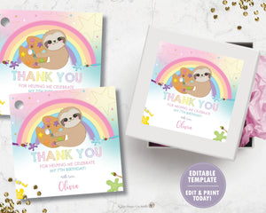 Cute Sloth Art Paint Birthday Party Thank You Tags / Sticker Labels - Instant EDITABLE TEMPLATE Digital Printable File - SL1