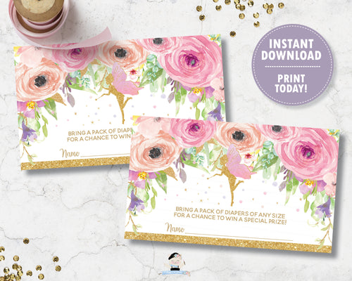 Spring Pink Floral Fairy Diaper Raffle Ticket Insert Digital Printable File - INSTANT DOWNLOAD - FF3