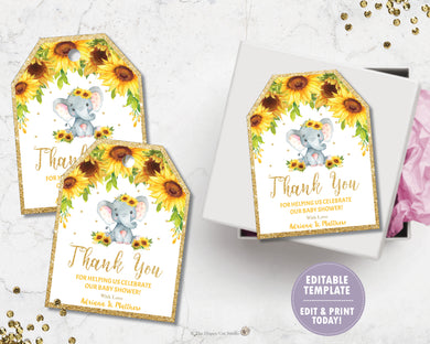 Sunflower Elephant Thank You Favor Tags - EDITABLE TEMPLATE Digital Printable File - INSTANT DOWNLOAD - EP8