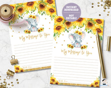 Load image into Gallery viewer, Sunflower Elephant 1st Birthday Time Capsule Sign and Message Card - EDITABLE TEMPLATE Digital Printable File - INSTANT DOWNLOAD - EP8