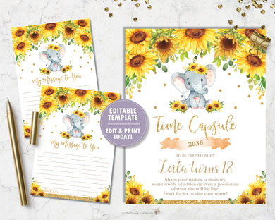 Sunflower Elephant 1st Birthday Time Capsule Sign and Message Card - EDITABLE TEMPLATE Digital Printable File - INSTANT DOWNLOAD - EP8