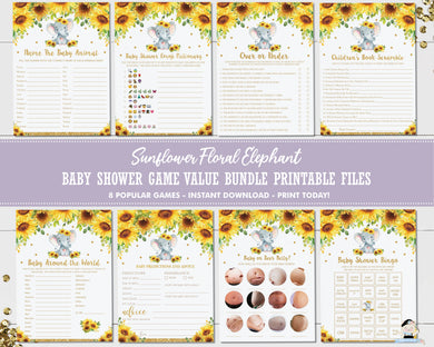 Elephant Sunflower Floral Baby Shower Game Value Bundle Set of 8 Games - INSTANT DOWNLOAD - Digital Printable Files - EP8