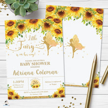 Load image into Gallery viewer, Chic Sunflower Floral Fairy Baby Shower Invitation Editable Template - Digital Printable File - Instant Download FF6